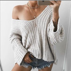 Sweaters - Chenille off the shoulder sweater.